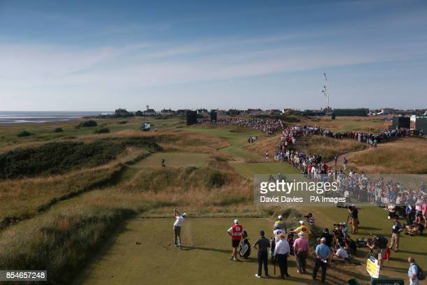 Australia's Adam Scott tees off on the 13th hole during day one of the 2014 Open Championship at Royal Liverpool Golf Club Hoylake