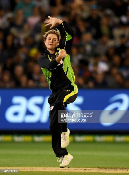 Australia's Adam Zampa bowls during the first Twenty20 cricket match between Australia and Sri Lanka at the MCG in Melbourne on February 17 2017 /...