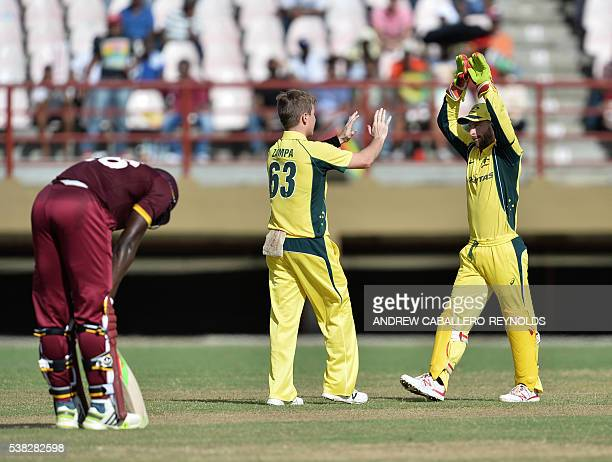 Australia's Adam Zampa celebrates dismissing the West indie's Sunil Narine during a Oneday International cricket match between the West Indies and...