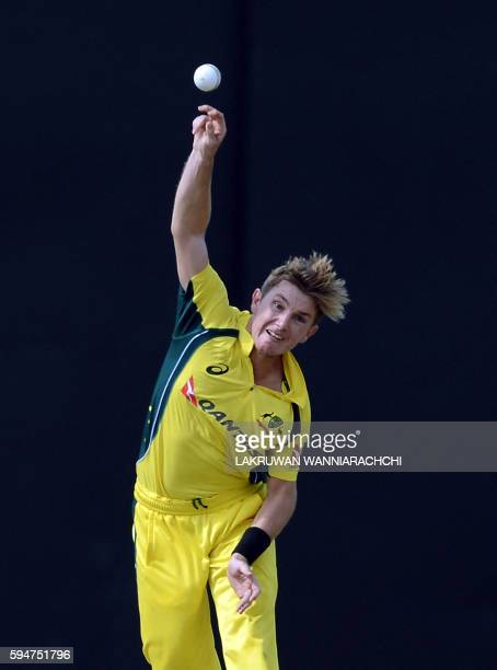 Australia's Adam Zampa delivers a ball during the second oneday International cricket match between Sri Lanka and Australia at The R Premadasa...