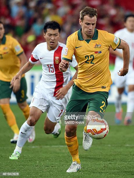 Australia's Alex Wilkinson controls the ball during the AFC Asian Cup quarterfinal football match between Australia and China in Brisbane on January...