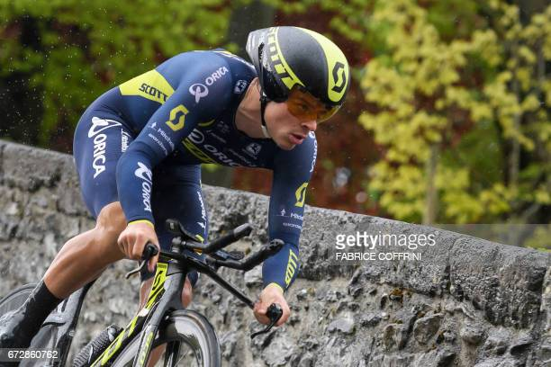 Australia's Alexander Edmondson of Orica Scott team rides to take third place of the 48 km prologue of the Tour of Romandy UCI protour cycling race...