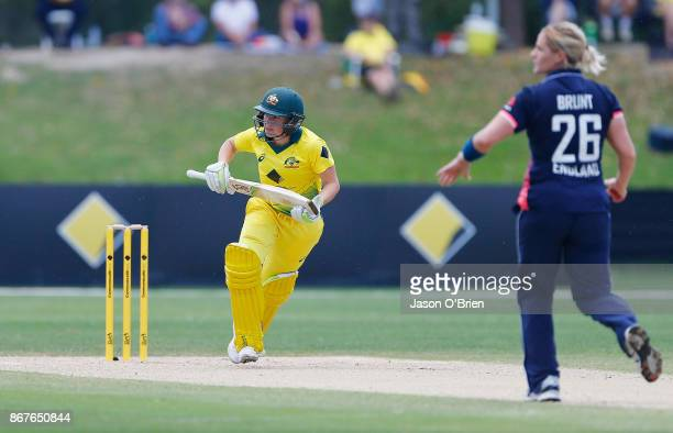 Australia's Alyssa Healy in action during the Women's International One Day match between Australia and England on October 29 2017 in Coffs Harbour...