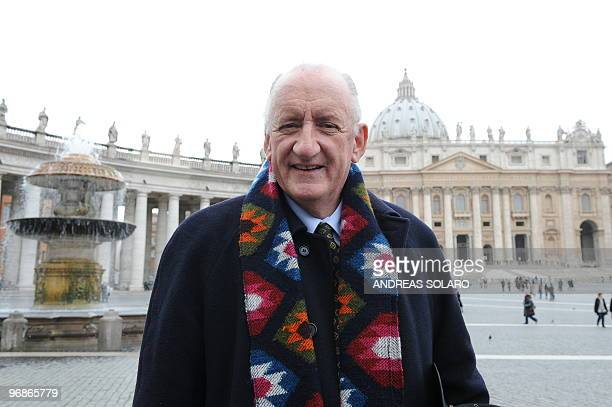 Australia's ambassador to the Holy See Tim Fischer poses on February 19 2010 in front of St Peter's Basilica after Pope Benedict XVI announced that...
