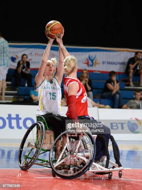 Australia's Amber Merritt in action during the wheelchair basketball game against Great Britain