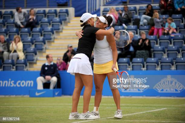 Australia's Ashleigh Barty and Casey Dellacqua celebrate their victory in the doubles final against Cara Black and Marina Erakovic during the AEGON...