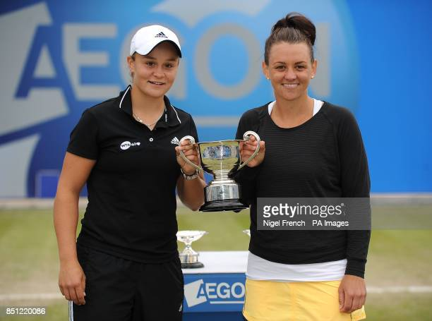 Australia's Ashleigh Barty and Casey Dellacqua celebrate with the trophy after winning their Doubles match during the AEGON Classic at Edgbaston...