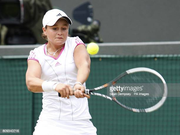 Australia's Ashleigh Barty in action against Russia's Irina Khromacheva in the Girls' Singles Final on day thirteen of the 2011 Wimbledon...