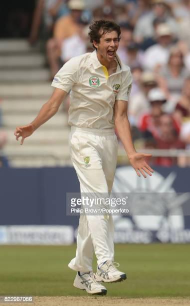 Australia's Ashton Agar celebrates after dismissing England's Jonny Bairstow during the 1st Test match between England and Australia at Trent Bridge...