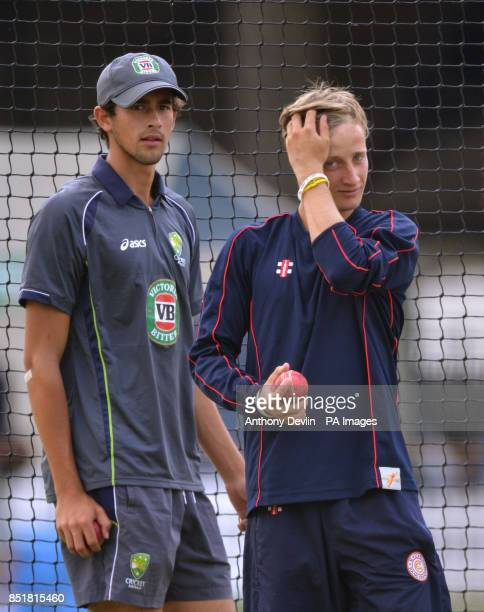 Australia's Ashton Agar lookson as Billy Root bowls during the nets practice session at Lords Cricket Ground London