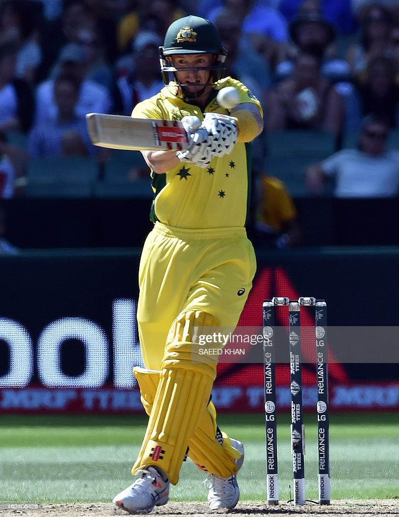Australia's batsman <a gi-track='captionPersonalityLinkClicked' href=/galleries/search?phrase=George+Bailey+-+Cricket+Player&family=editorial&specificpeople=9737020 ng-click='$event.stopPropagation()'>George Bailey</a> plays a shot against England during the Pool A 2015 Cricket World Cup match between Australia and England at the Melbourne Cricket Ground (MCG) on February 14, 2015. AFP PHOTO / Saeed Khan