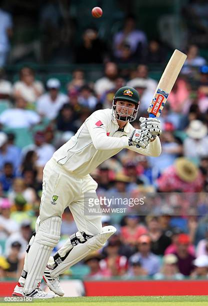 Australia's batsman Matt Renshaw steers a ball to leg from the Pakistan bowling during the first day of the third cricket Test match at the SCG in...