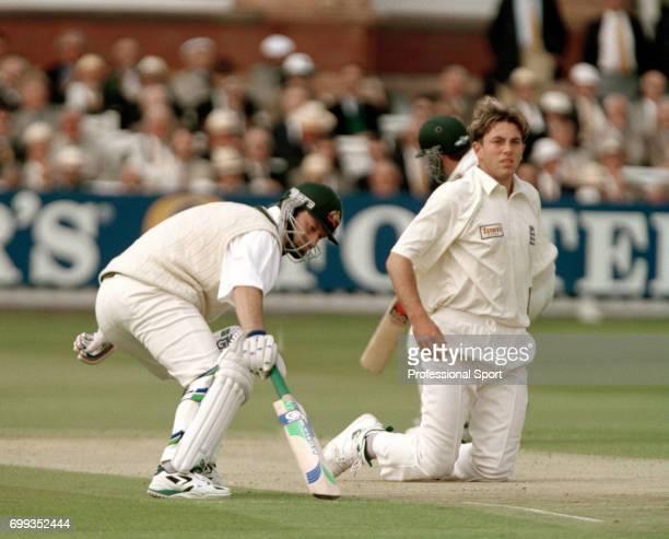 Australia's batsmen Steve Waugh and Mark Waugh take a run past England bowler Chris Silverwood during the 3rd Texaco Trophy One Day International...