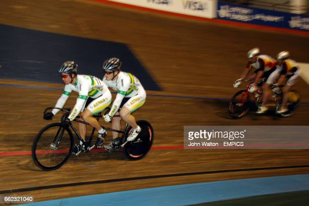 Australia's Benjamin Holmes and Benjamin Macfie lead on the way to winning ahead of Germany's Thorsten Goliach and Achim Moll in the Tandem Sprint...