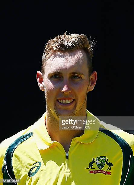 Australia's Billy Stanlake during game one of the One Day International series between Australia and Pakistan at The Gabba on January 13 2017 in...