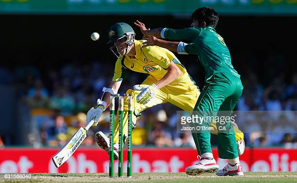Australia's Billy Stanlake makes a run during game one of the One Day International series between Australia and Pakistan at The Gabba on January 13...