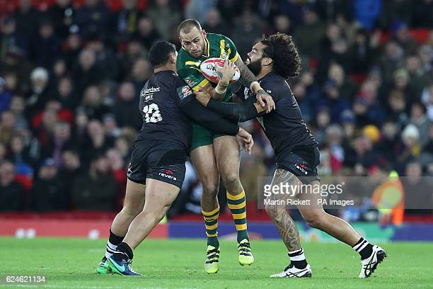 Australia's Blake Ferguson in action with New Zealand's Jason Taumalolo and Adam Blair during the Final of the Ladbrokes Four Nations Championship at...