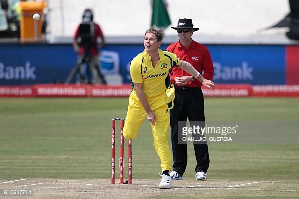 Australia's bowler Adam Zampa bowls on Ireland's batsman William Porterfield during Australia against Ireland ODI cricket match on September 27 2016...