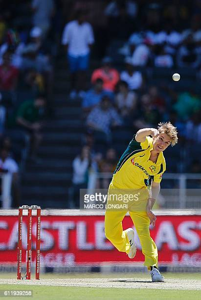 Australia's bowler Adam Zampa delivers during the second One Day International cricket match Australia versus South Africa at the Wanderers Stadium...