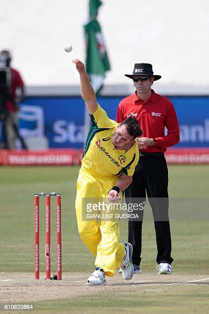 Australia's bowler Daniel Worrall bowls on Ireland batsman Paul Stirling during Australia against Ireland ODI cricket match on September 27 2016 at...
