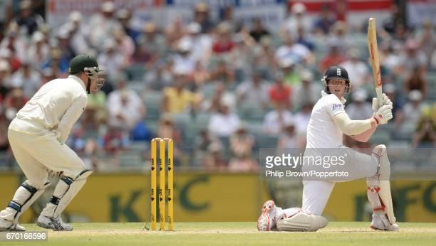 Australia's Brad Haddin catches England's Ben Stokes during the 3rd Ashes cricket Test match between Australia and England at the WACA cricket ground...
