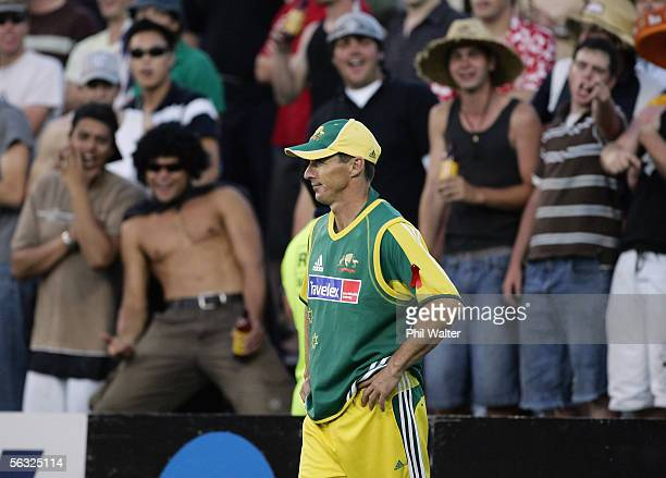 Australia's Brad Hogg gets a hard time from the terraces crowd during the first one day international cricket match played between New Zealand and...