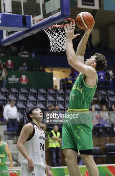 Australia's Brandt Angus scores during a match against Japan in the FIBA AsiaCup 2017 in the Lebanese town of Zouk Mikael north of Beirut on August 8...