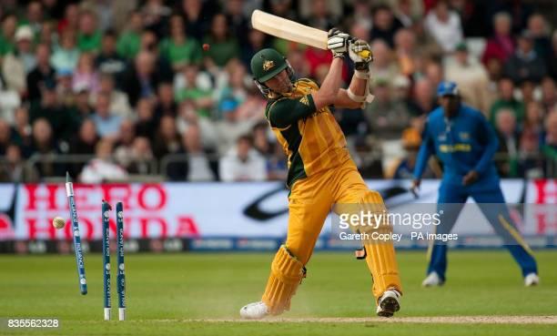 Australia's Brett Lee is bowled by Sri Lanka's Lasith Malinga during the ICC World Twenty20 match at Trent Bridge Nottingham
