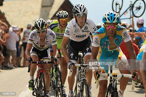 Australia's Cadel Evans Andy Schleck of Luxembourg and Spain�s Alberto Contador ride up the last climb in stage eight of the Tour de France July 11...