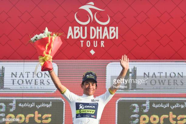 Australia's Caleb Evan from OricaScott in the White Jersey of the Best Young Rider after the second stage a 153 km Nation Towers stage from Abu Dhabi...