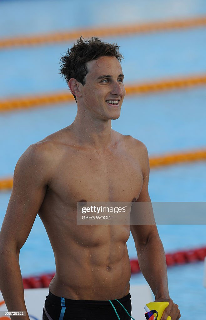Australia's Cameron McEvoy leaves the pool after winning the men's 50m freestyle event at the final day of the Aquatic Super Series swimming event in Perth on February 6, 2016. AFP PHOTO / Greg WOOD WOOD