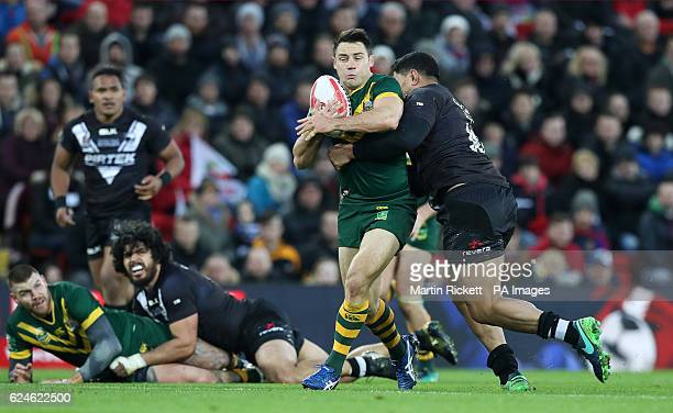 Australia's Cameron Smith is challenged by New Zealand's Jason Taumalolo during the Final of the Ladbrokes Four Nations Championship at Anfield...