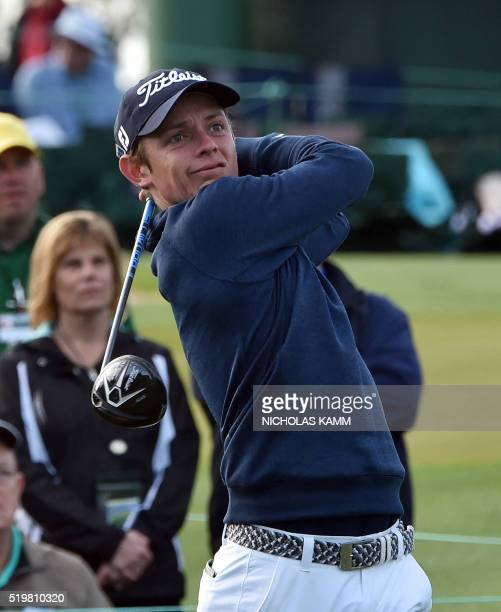 Australia's Cameron Smith tees off during Round 2 of the 80th Masters Golf Tournament at the Augusta National Golf Club on April 8 in Augusta Georgia...