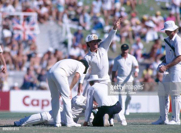 Australia's captain Allan Border waves for medical assistance after Australia's wicketkeeper Greg Dyer suffers a broken nose on the final day of the...