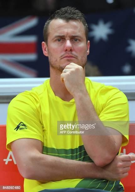 Australia's captain Lleyton Hewitt reacts during the Davis Cup semifinal tennis match between Belgium's David Goffin and Australia's Nick Kyrgios in...