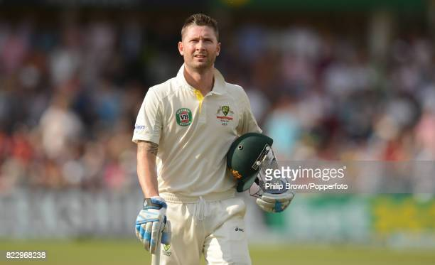 Australia's captain Michael Clarke walks off after being dismissed for 23 runs in the 1st Test match between England and Australia at Trent Bridge...