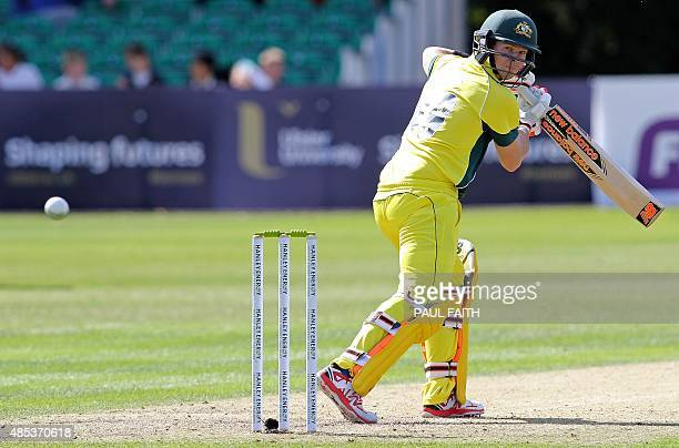 Australia's captain Steve Smith watches the ball before losing his wicket to Ireland's Niall O'Brien for 21 runs during the one day international...