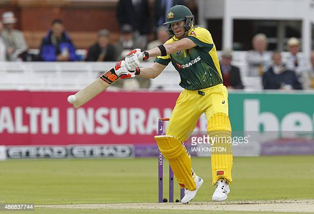 Australias Captain Steven Smith plays a shot during the second one day international cricket match between England and Australia at Lord's cricket...