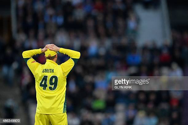 Australia's captain Steven Smith reacts as he fields during the first one day international cricket match between England and Australia at The Ageas...