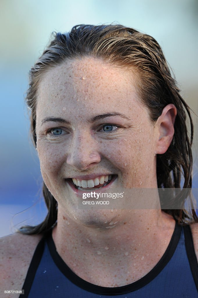 Australia's Cate Campbell leaves the pool after winning the women's 100m freestyle event at the final day of the Aquatic Super Series swimming event in Perth on February 6, 2016. AFP PHOTO / Greg WOOD WOOD