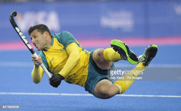 Australia's Chris Ciriello scores the opening goal against Germany during the Visa International Invitational Hockey Tournament at the Riverbank...