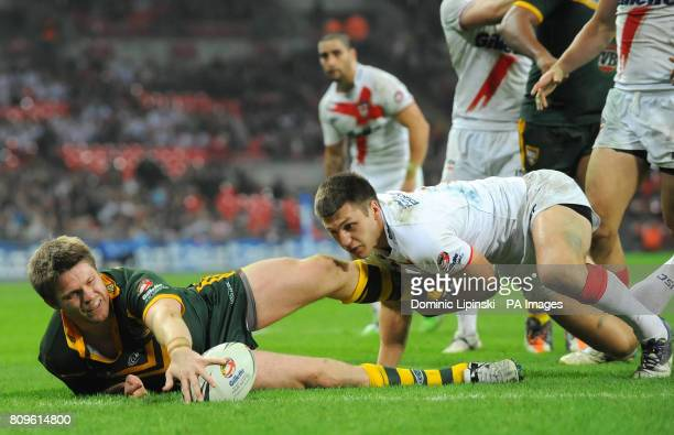 Australia's Chris Lawrence scores a try during the Gillette Four Nations match at Wembley Stadium London