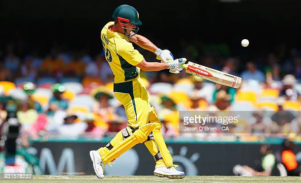 Australia's Chris Lynn hits a six during game one of the One Day International series between Australia and Pakistan at The Gabba on January 13 2017...