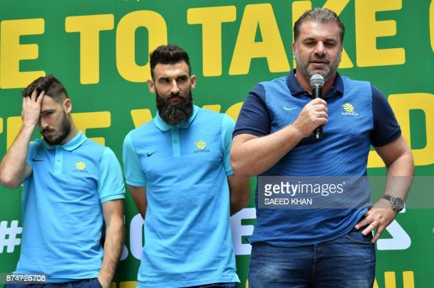 Australia's coach Ange Postecoglou and captain Mile Jedinak attend an event to celebrate the national teams qualification for the 2018 football World...