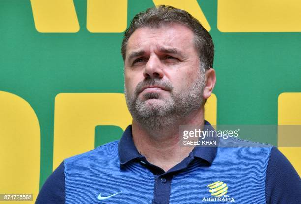Australia's coach Ange Postecoglou attends an event to celebrate the national teams qualification for the 2018 football World Cup in Sydney on...