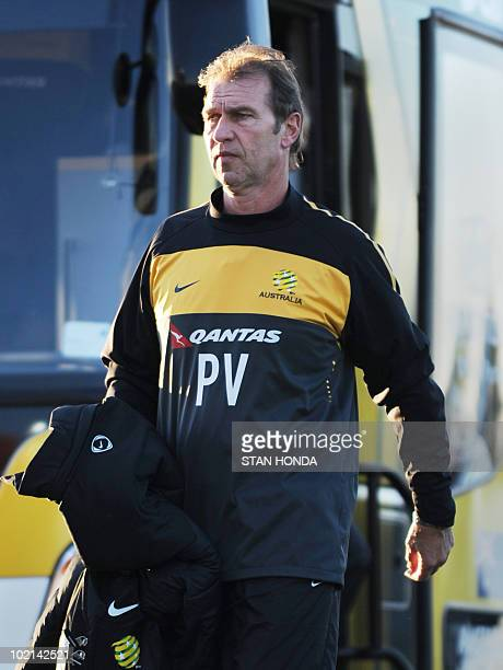 Australia's coach Pim Verbeek arrives for a team training session at Ruimsig Stadium in Roodepoort on June 16 2010 during the 2010 World Cup football...