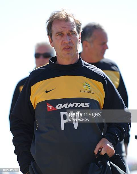 Australia's coach Pim Verbeek arrives for a training session at Ruimsig Stadium in Roodepoort on June 20 2010 during the 2010 World Cup football...