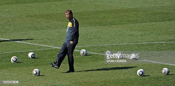 Australia's coach Pim Verbeek attends a training session at Ruimsig Stadium in Roodepoort on June 20 2010 during the 2010 World Cup football...