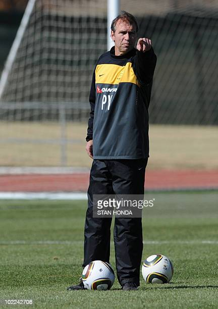Australia's coach Pim Verbeek instructs players during a training session at Ruimsig Stadium in Roodepoort on June 20 2010 during the 2010 World Cup...