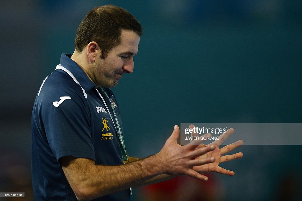 Australia's coach Taip Ramadani reacts during the 23rd Men's Handball World Championships preliminary round Group D match Egypt vs Australia at the Caja Magica in Madrid on January 19, 2013.